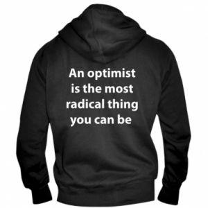 Męska bluza z kapturem na zamek Napis: An optimist