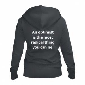 Damska bluza na zamek Napis: An optimist