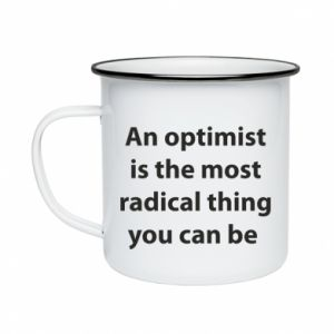 Enameled mug Inscription: An optimist