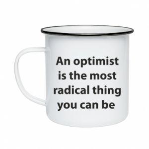 Kubek emaliowane Napis: An optimist