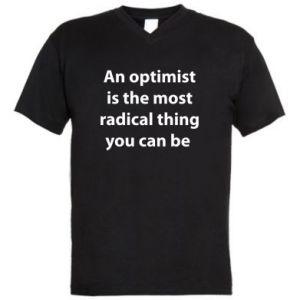 Męska koszulka V-neck Napis: An optimist