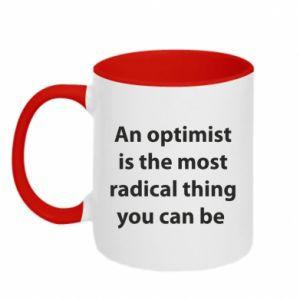Kubek dwukolorowy Napis: An optimist