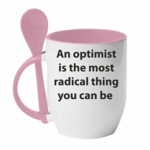 Kubek z ceramiczną łyżeczką Napis: An optimist