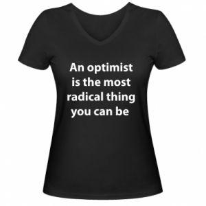 Damska koszulka V-neck Napis: An optimist