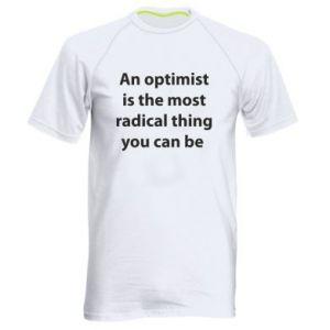 Męska koszulka sportowa Napis: An optimist