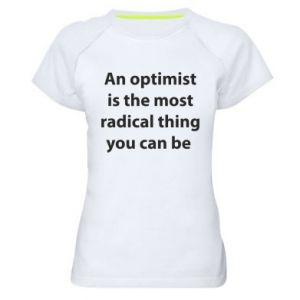 Damska koszulka sportowa Napis: An optimist