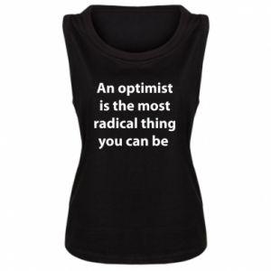 Damska koszulka bez rękawów Napis: An optimist