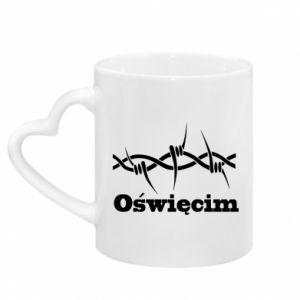 Mug with heart shaped handle Inscription: Oswiecim and wire