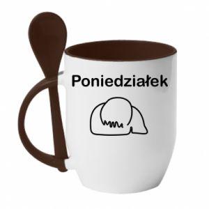 Kubek z ceramiczną łyżeczką Napis - Poniedziałek
