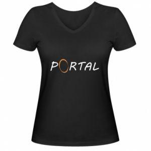 Damska koszulka V-neck Napis Portal