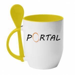 Kubek z ceramiczną łyżeczką Napis Portal