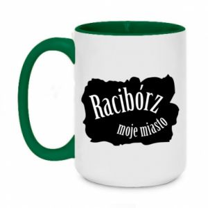 Two-toned mug 450ml Inscription - Raciborz my city