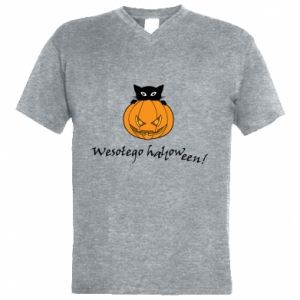 Men's V-neck t-shirt Inscription: Happy Halloween