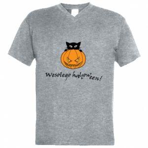 Men's V-neck t-shirt Inscription: Happy Halloween - PrintSalon