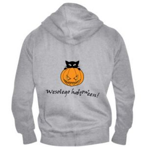 Męska bluza z kapturem na zamek Napis: Wesołego Halloween