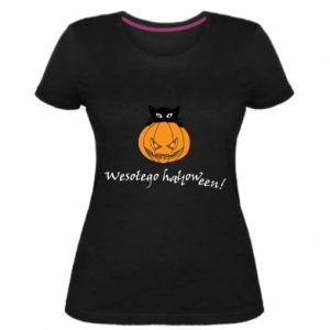 Women's premium t-shirt Inscription: Happy Halloween - PrintSalon