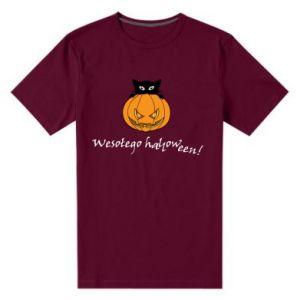Męska premium koszulka Napis: Wesołego Halloween