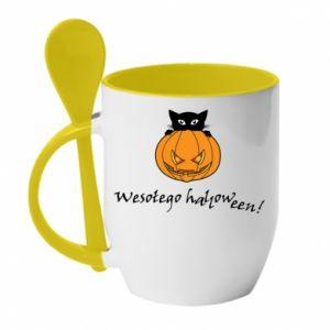 Mug with ceramic spoon Inscription: Happy Halloween - PrintSalon