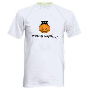 Męska koszulka sportowa Napis: Wesołego Halloween