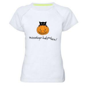 Women's sports t-shirt Inscription: Happy Halloween - PrintSalon
