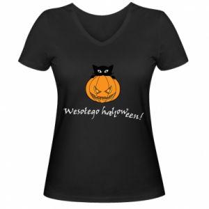 Women's V-neck t-shirt Inscription: Happy Halloween - PrintSalon