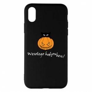 Phone case for iPhone X/Xs Inscription: Happy Halloween - PrintSalon
