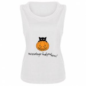 Damska koszulka bez rękawów Napis: Wesołego Halloween