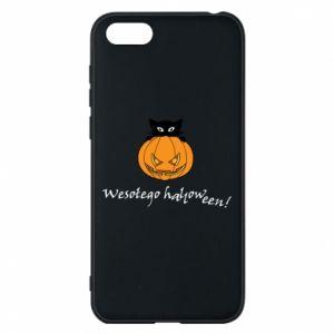 Phone case for Huawei Y5 2018 Inscription: Happy Halloween - PrintSalon
