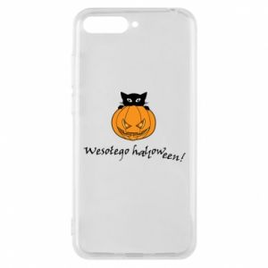 Phone case for Huawei Y6 2018 Inscription: Happy Halloween - PrintSalon