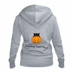 Women's zip up hoodies Inscription: Happy Halloween - PrintSalon