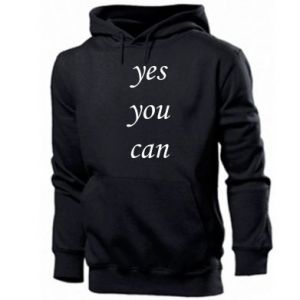 Męska bluza z kapturem Napis: Yes you can