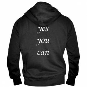 Męska bluza z kapturem na zamek Napis: Yes you can