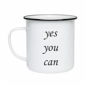 Kubek emaliowane Napis: Yes you can