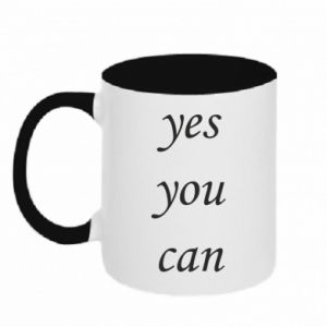 Kubek dwukolorowy Napis: Yes you can