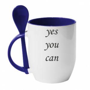 Kubek z ceramiczną łyżeczką Napis: Yes you can