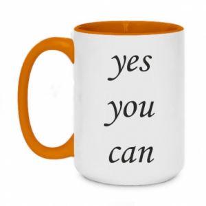 Kubek dwukolorowy 450ml Napis: Yes you can