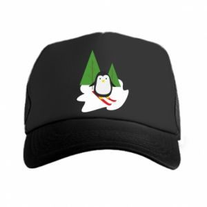 Trucker hat Penguin skiing
