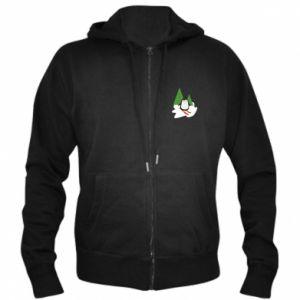 Men's zip up hoodie Penguin skiing