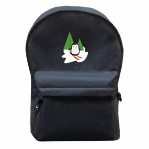 Backpack with front pocket Penguin skiing