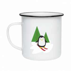Enameled mug Penguin skiing
