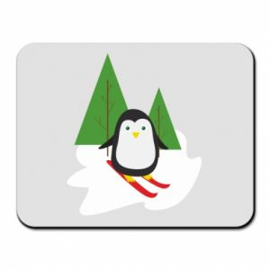 Mouse pad Penguin skiing