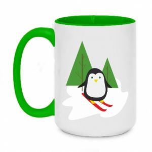 Two-toned mug 450ml Penguin skiing