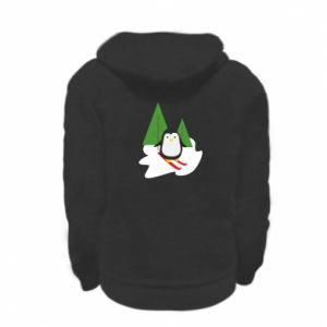 Kid's zipped hoodie % print% Penguin skiing