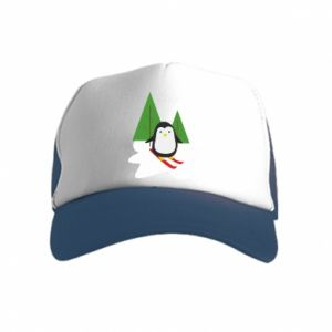 Kid's Trucker Hat Penguin skiing