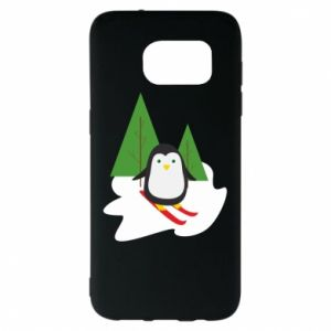 Samsung S7 EDGE Case Penguin skiing