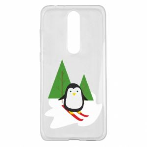 Nokia 5.1 Plus Case Penguin skiing