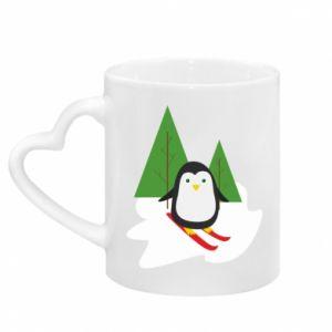 Kubek z uchwytem w kształcie serca Narciarstwo pingwinowe