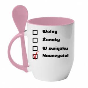 Mug with ceramic spoon Teacher - PrintSalon