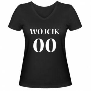 Damska koszulka V-neck Nazwisko i numer - PrintSalon