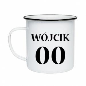 Enameled mug Surname and number